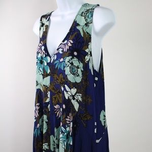 Urban Outfitters floral sleeveless dress teal blue